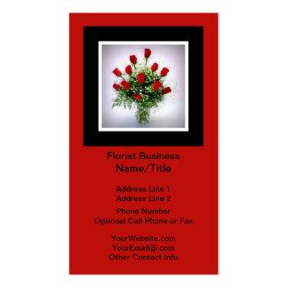 Rojo vertical del negro del florero del ramo de lo tarjetas de visita