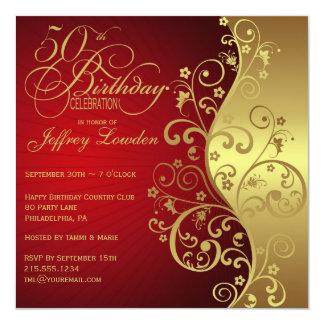 Rojo y 50.a invitación de la fiesta de cumpleaños invitación 13,3 cm x 13,3cm