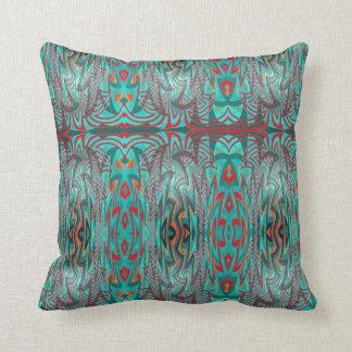 Rojo y almohada abstracta de la turquesa