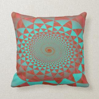 Rojo y almohada de tiro abstracta espiral de la