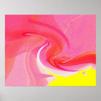 Rojo y amarillo abstractos impresiones