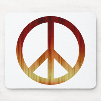 Rojo y amarillo texturizados del símbolo de paz mousepads