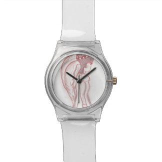 Rojo y ángel oblicuo invertido blanco reloj