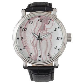 Rojo y ángel oblicuo invertido blanco reloj de mano