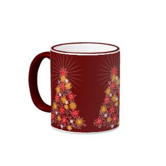 Rojo y árbol de las luces de navidad de la estrell taza