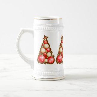 Rojo y árboles de navidad de las burbujas del oro taza