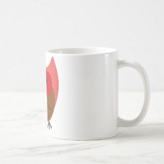 Rojo y arte gordos del vector del búho de Brown Tazas De Café