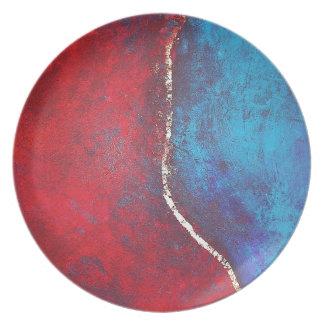Rojo y azul con arte abstracto del arquero de Phil Plato De Cena