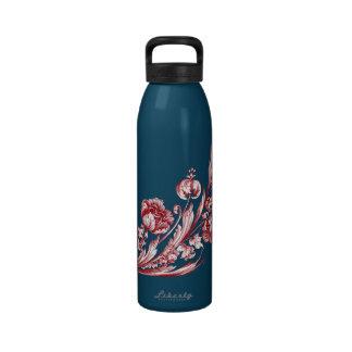 Rojo y azul de la flor del vintage botella de beber