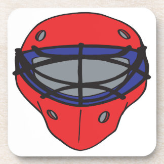 Rojo y azul de la máscara del portero posavasos de bebida