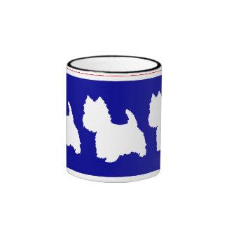 Rojo y azul de la silueta de Westie Taza De Café