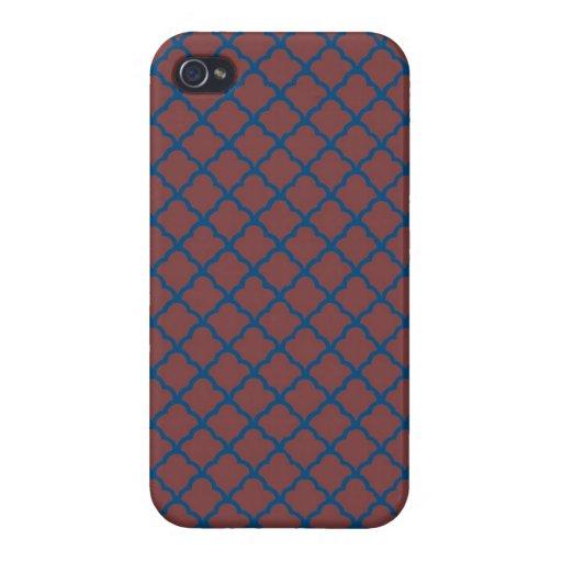 Rojo y azul de ladrillo clásico de Quatrefoil iPhone 4/4S Carcasa