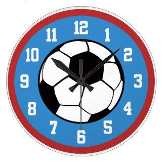Rojo y azul del fútbol reloj redondo grande