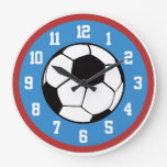 Rojo y azul del fútbol relojes de pared