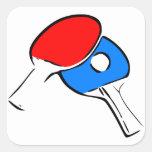 Rojo y azul del ping-pong calcomanía cuadradas personalizada