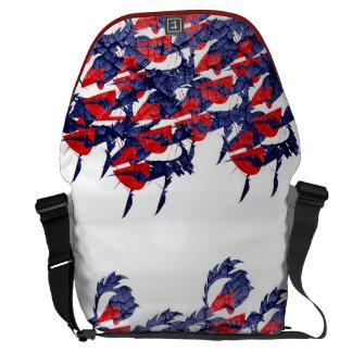 Rojo y azul dinámicos bolsa de mensajería