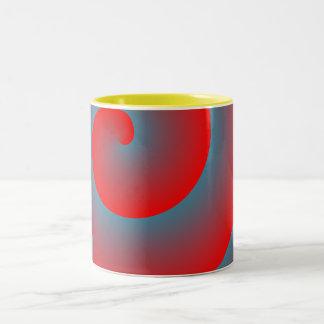 Rojo y azul espirales taza dos tonos