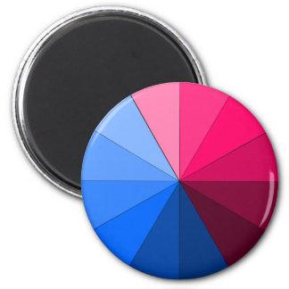 rojo y azul imán redondo 5 cm