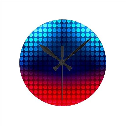 Rojo y azul retros reloj redondo mediano