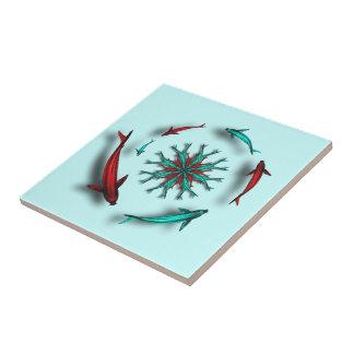 Rojo y baldosa cerámica del círculo de los pescado teja  ceramica
