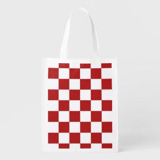 Rojo y blanco a cuadros bolsa para la compra