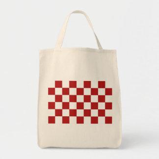 Rojo y blanco a cuadros bolsa tela para la compra