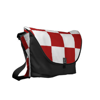 Rojo y blanco a cuadros bolsas messenger