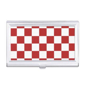 Rojo y blanco a cuadros caja de tarjetas de presentación