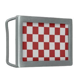 Rojo y blanco a cuadros hebillas cinturón rectangulares
