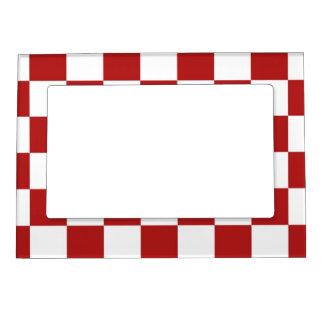Rojo y blanco a cuadros marcos magneticos