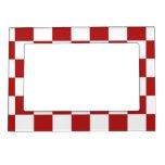 Rojo y blanco a cuadros marcos magnéticos de fotos