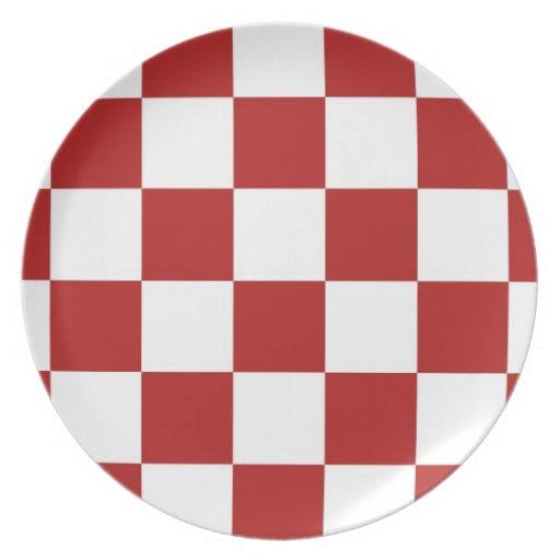 Rojo y blanco a cuadros plato de cena