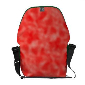 Rojo y blanco abigarrados bolsas de mensajería