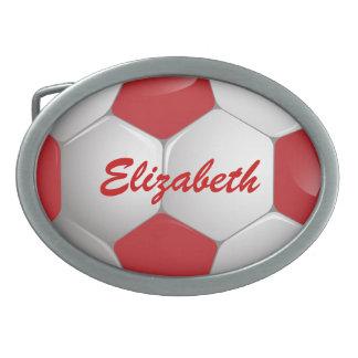 Rojo y blanco adaptables del balón de fútbol del hebilla de cinturon oval