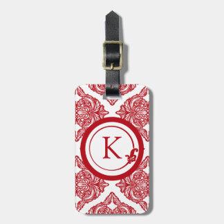 Rojo y blanco adornados del damasco etiquetas para equipaje