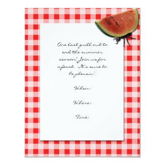 Rojo y blanco comprobados y hormiga con la sandía invitación 10,8 x 13,9 cm