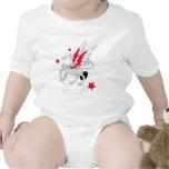 Rojo y blanco de Gryphon Traje De Bebé