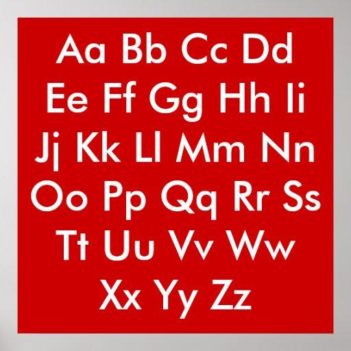 Rojo y blanco de la carta del alfabeto póster