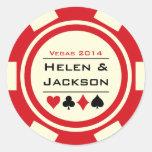 Rojo y blanco de la ficha de póker pegatinas redondas