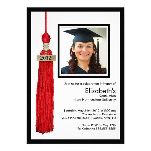 Rojo y blanco de la invitación de la graduación de