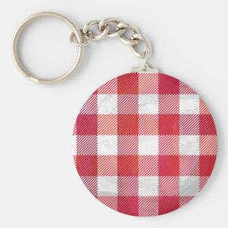 Rojo y blanco de la tela escocesa del búfalo llavero redondo tipo pin