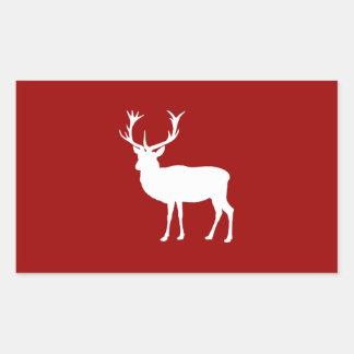 Rojo y blanco de los ciervos del navidad pegatina rectangular