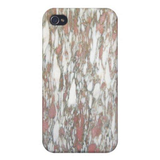 Rojo y blanco de mármol iPhone 4/4S funda