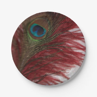 Rojo y blanco del pavo real plato de papel de 7 pulgadas