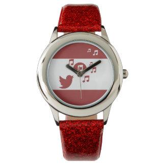 Rojo y blanco elegantes del pájaro cantante relojes de mano