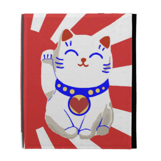 Rojo y blanco lindos afortunados lindos del gato d
