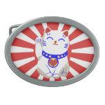Rojo y blanco lindos afortunados lindos del gato d hebillas cinturon