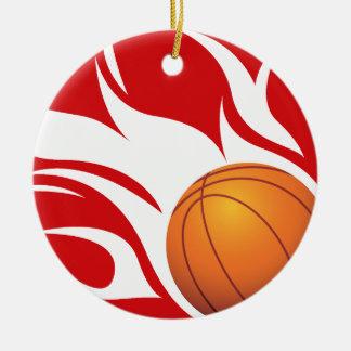Rojo y blanco llameantes del baloncesto ornamento de reyes magos