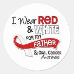 Rojo y blanco para el cáncer oral del padre 42 etiquetas redondas