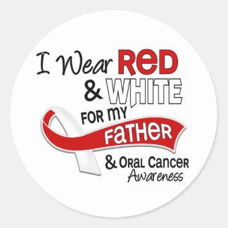 Rojo y blanco para el cáncer oral del padre 42 pegatina redonda